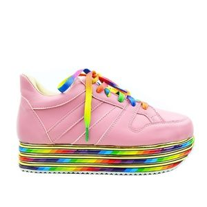 Women's Rainbow Platform Mauve Fashion Sneaker